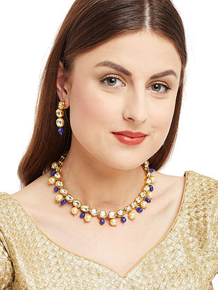 Blue Gold Tone Kundan Inspired Necklace with Earrings (Set of 2)