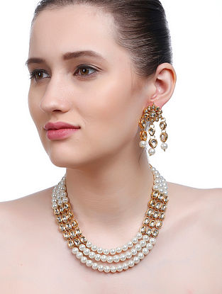 Classic Gold Tone Kundan Inspired Beaded Necklace with Earrings (Set of 2)