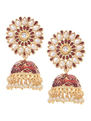 Red Gold Tone Kundan Inspired Jhumkis