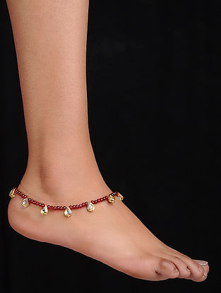 Red Gold Tone Kundan Inspired Anklet