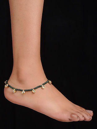 Green Gold Tone Kundan Inspired Anklet