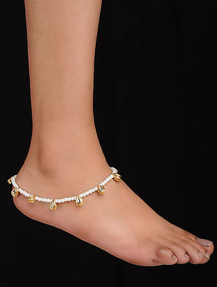 White Gold Tone Kundan Inspired Anklet