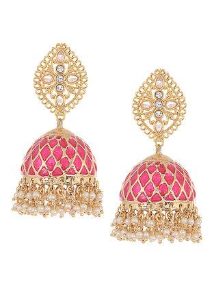 Pink Gold Tone Kundan Inspired Jhumkis