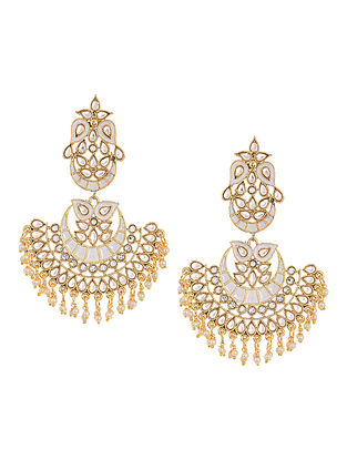White Gold Tone Kundan Inspired Chandbali Earrings