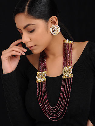 Maroon Gold Tone Kundan Inspired Beaded Necklace with Earrings (Set of 2)