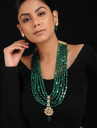 Green Gold Tone Kundan Inspired Beaded Necklace with Earrings (Set of 2)