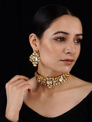 Gold Tone Kundan Inspired Necklace with Earrings (Set of 2)