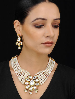 White Gold Tone Kundan Necklace with Earrings (Set of 2)