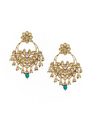 Blue Gold Tone Kundan Chandbali Earrings