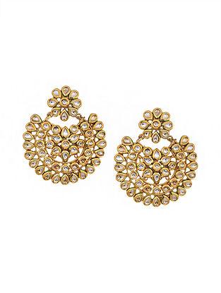 Gold Tone Kundan Chandbali Earrings