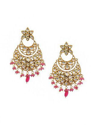 Pink Gold Tone Kundan Chandbali Earrings