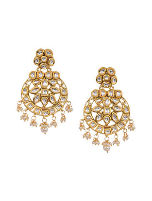 Gold Tone Kundan Chandbali Earrings with Pearls