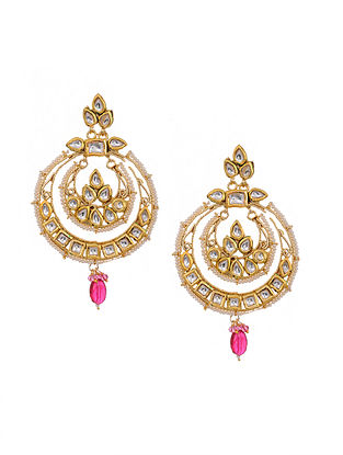 Pink Gold Tone Kundan Chandbali Earrings with Pearls