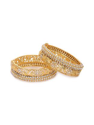White Gold Tone Kundan Bangle (Set of 2) (Bangle Size: 2/4)