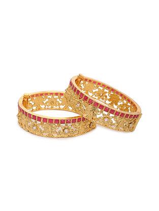 Pink Gold Tone Kundan Bangles (Set of 2) (Bangle Size: 2/4)
