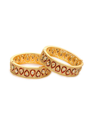 Red Gold Tone Kundan Bangles (Set of 2) (Bangle Size: 2/4)