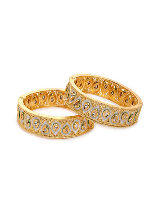 White Gold Tone Kundan Bangles (Set of 2) (Bangle Size: 2/4)