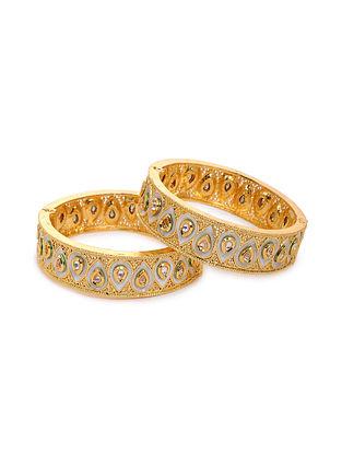 White Gold Tone Kundan Bangles (Set of 2) (Bangle Size: 2/4)