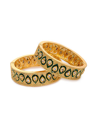 Green Gold Tone Kundan Bangles (Set of 2) (Bangle Size: 2/4)