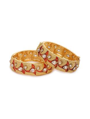 Red Gold Tone Kundan Bangles (Set of 2) (Bangle Size: 2/6)