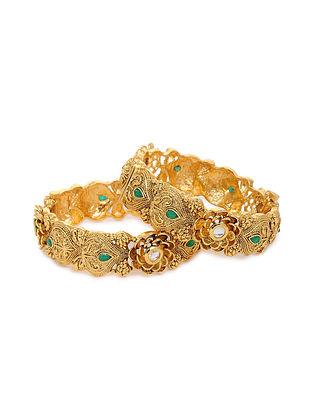 Green Gold Tone Kundan Bangles (Set of 2) (Bangle Size: 2/8)