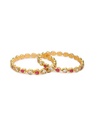 Pink Gold Tone Kundan Bangles (Set of 2) (Bangle Size: 2/8)