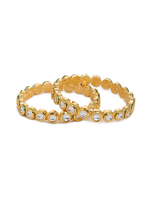 Gold Tone Kundan Bangles (Set of 2) (Bangle Size: 2/4)