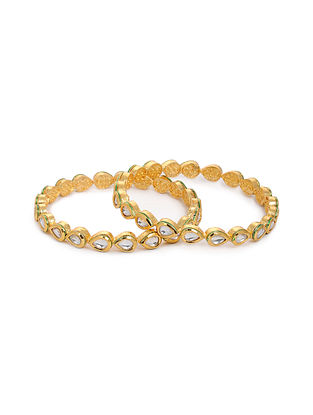 Gold Tone Kundan Bangles (Set of 2) (Bangle Size: 2/8)