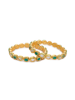 Green Gold Tone Kundan Bangles with Pearls (Set of 2) (Bangle Size: 2/4)