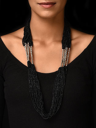 Black Silver Tone Handcrafted Beaded Necklace