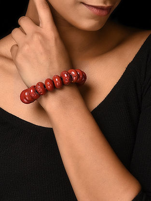 Red Handcrafted Beaded Bracelet