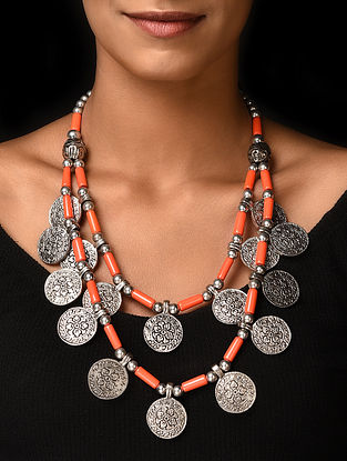 Orange Silver Tone Handcrafted Beaded Necklace