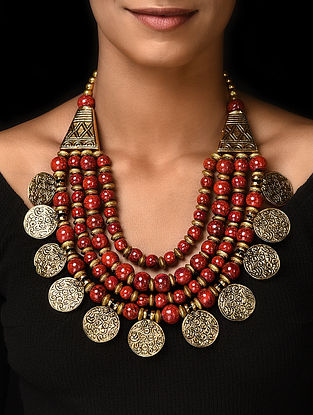 Red Gold Tone Handcrafted Beaded Necklace