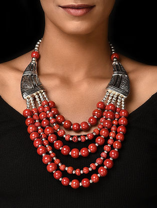 Red Silver Tone Handcrafted Beaded Necklace