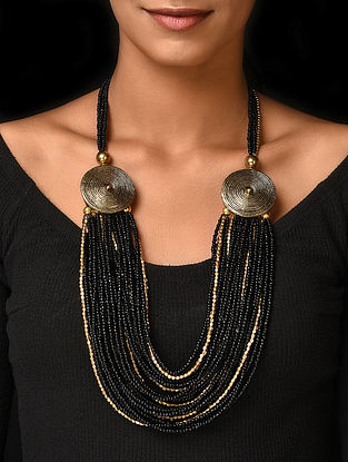 Black Gold Tone Handcrafted Beaded Necklace