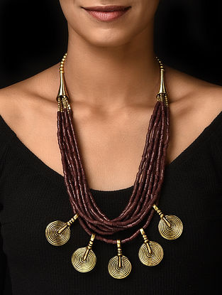 Brown Gold Tone Handcrafted Beaded Necklace