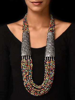 Multicolored Silver Tone Handcrafted Beaded Necklace