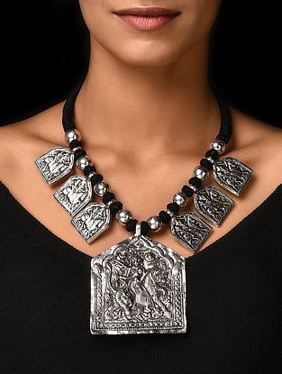 Black Silver Tone Handcrafted Beaded Necklace with Deity Motif