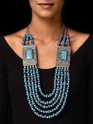 Blue Silver Tone Handcrafted Beaded Necklace