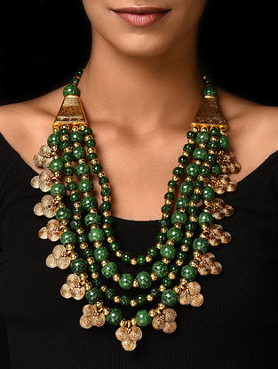 Green Gold Tone Handcrafted Beaded Necklace