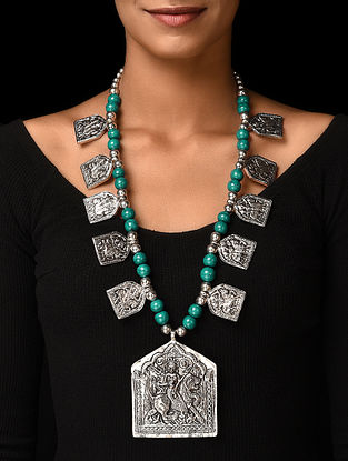 Blue Silver Tone Handcrafted Beaded Necklace with Deity Motif
