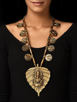 Gold Tone Handcrafted Necklace with Lord Ganesha Motif