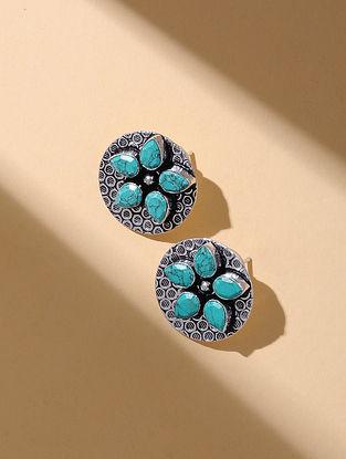 Turquoise Silver Tone Stud Earrings