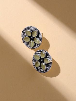 Yellow Silver Tone Stud Earrings