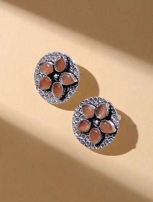 Orange Silver Tone Stud Earrings