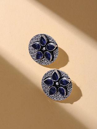 Blue Silver Tone Stud Earrings