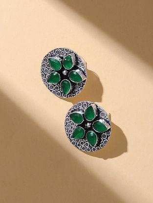 Green Silver Tone Stud Earrings
