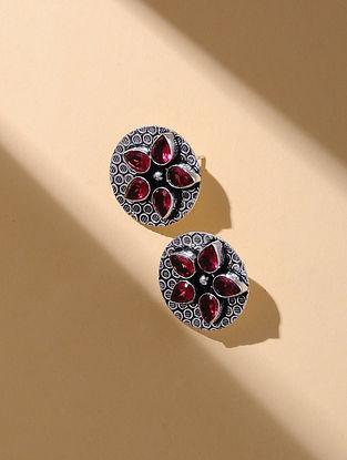 Red Silver Tone Stud Earrings