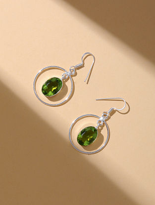 Green Silver Tone Earrings