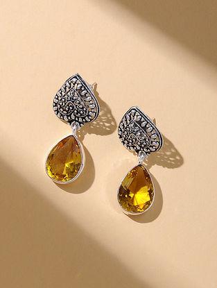 Orange Silver Tone Earrings